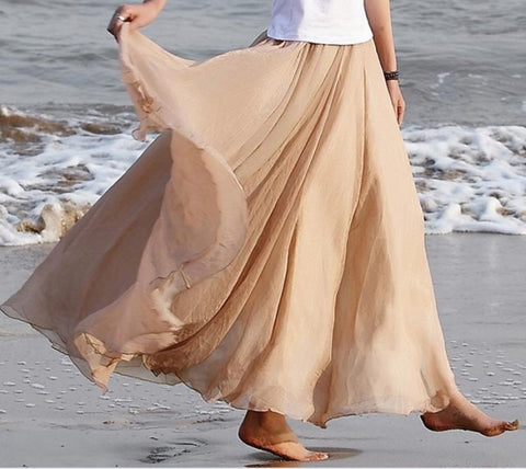 Long Chiffon Skirt in Beige