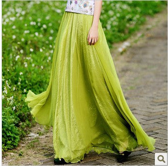 Long Chiffon Skirt in White