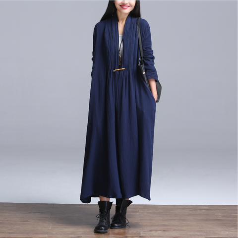Navy Blue Cotton And Linen Cardigan