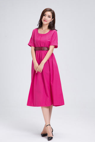 Pink Belted Midi Linen Dress