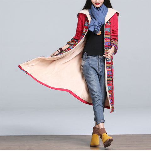 Red Hooded Cotton-Padded Coat