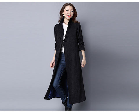 Belted Black Corduroy Button Coat