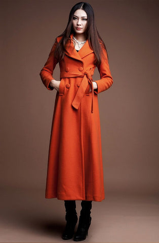 Double Breasted Long Wool Coat in Orange