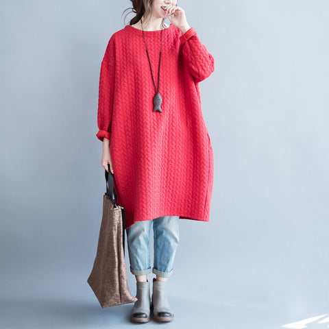 Red Cotton And Linen T-shirt Dress