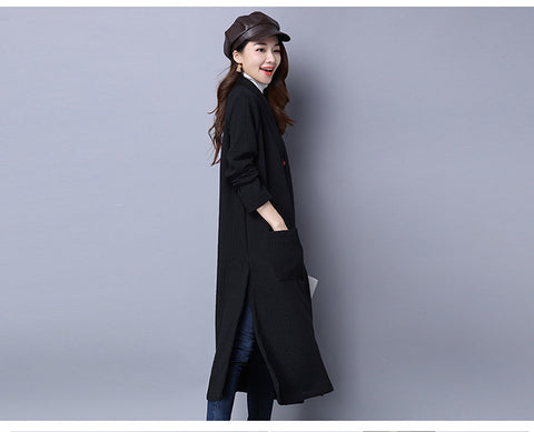 Black Long With Thick Cotton And Linen Jacket