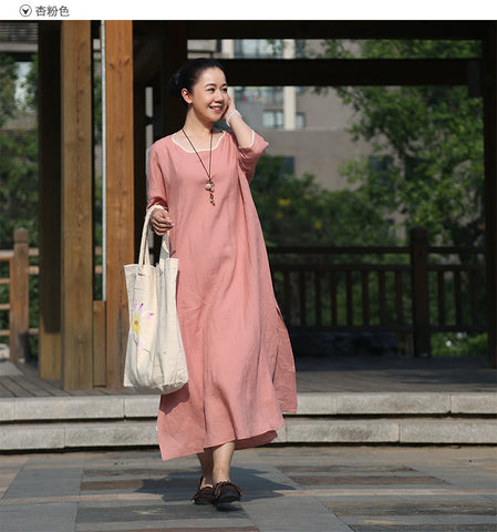Apricot Pink Cotton And Linen Maxi Dress