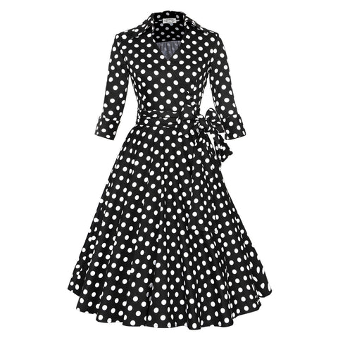 Belted Black Polka Long Sleeve Vintage Dress