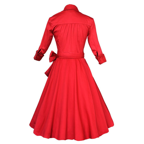 Belted Red Long Sleeve Vintage Dress