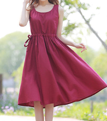 Linen Dress in Red