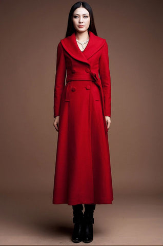 Double Breasted Long Wool Coat in Red