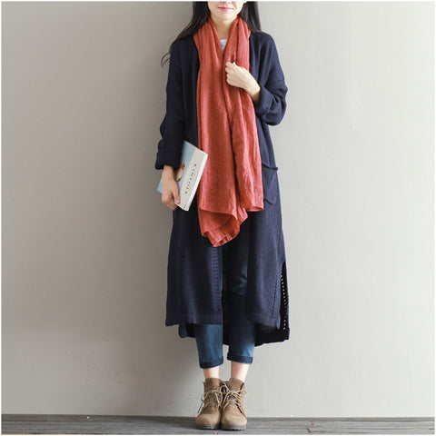 Copy of Belted Navy Blue Corduroy Button Coat