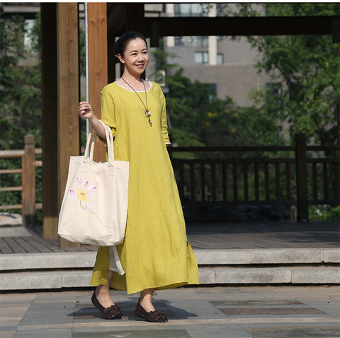 Yellow Cotton And Linen Maxi Dress