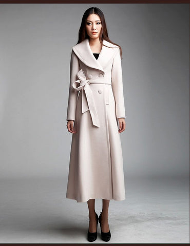 Double Breasted Long Wool Coat in Beige