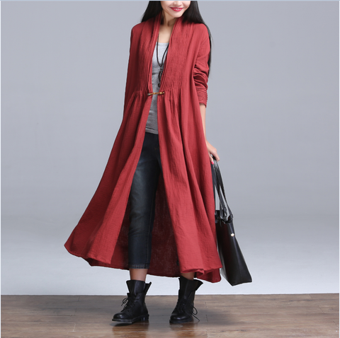 Wine Red Cotton And Linen Cardigan