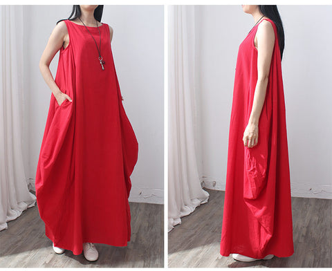 Red Cotton and linen Sleeveless Maxi Dress