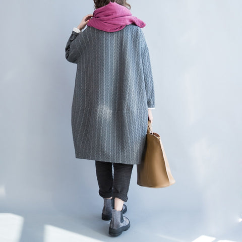 Gray Cotton And Linen T-shirt Dress