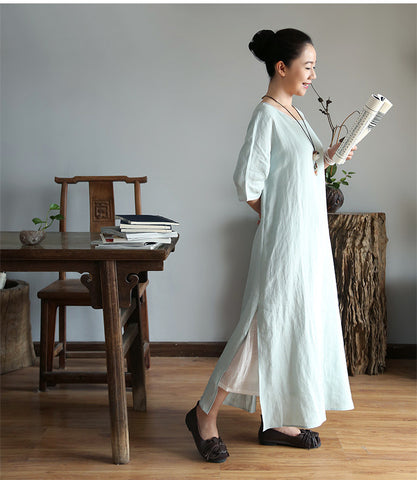 Light blue Cotton And Linen Maxi Dress