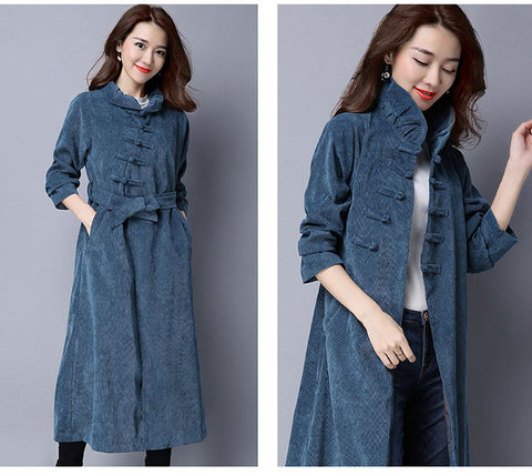 Belted Navy Blue Corduroy Button Coat