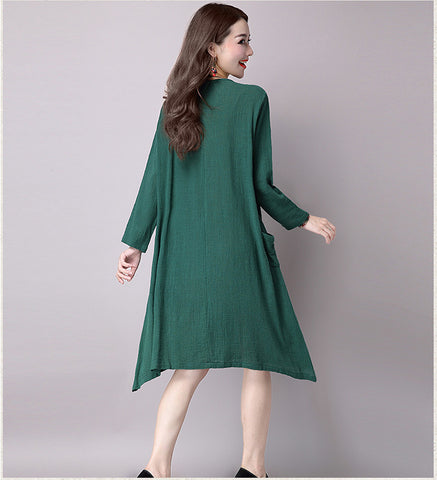 Green National Wind Long Sleeve Dress