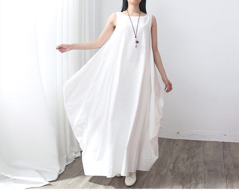 White Cotton And Linen Long Dress