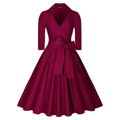 Belted Burgundy Long Sleeve Vintage Dress