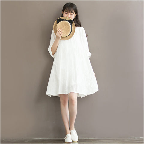 White Cotton And Linen  Dress