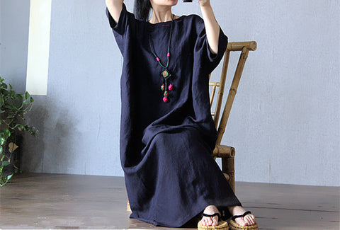 Carbon Black Loose Maxi Dress