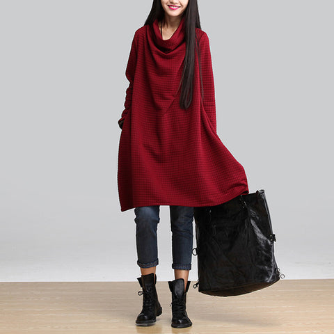 Red Heap Heap Collar Long Sleeve Dress