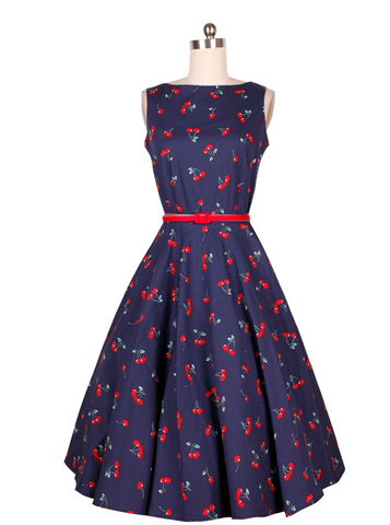 Blue Cherry Print Vintage Dress