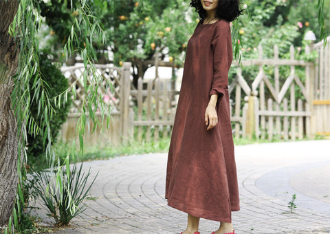 Belted Wine Red Long Sleeve Dress