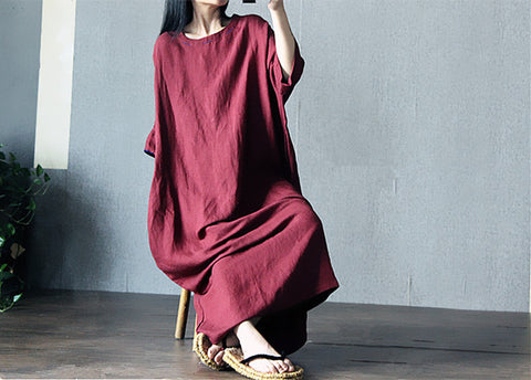Wine Red Loose Maxi Dress