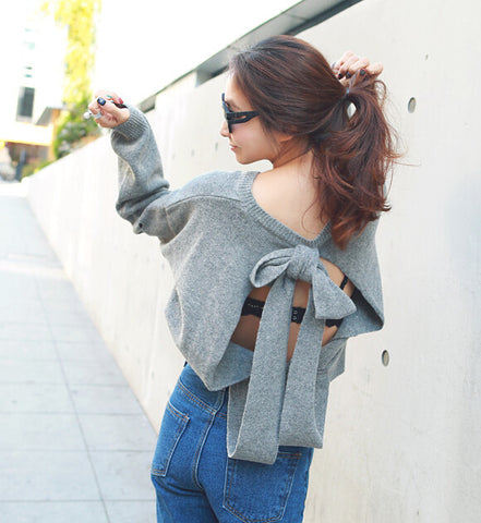 Gray Open Back Pullover Sweater with Big Bow