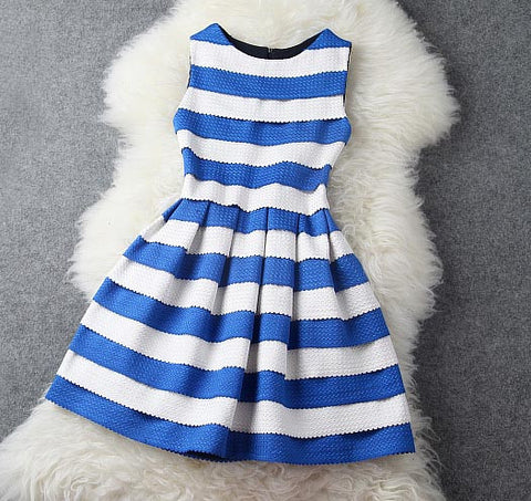 Dress with Blue and White Stripe Dress