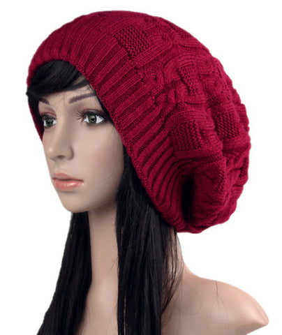 Burgandy Slouchy knitted hat