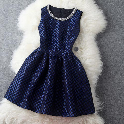 Plastic Pearl Beaded Dress in Navy Blue