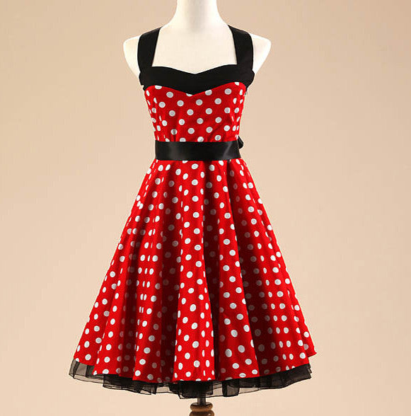 d31f486e0c4 Black and Red Polka Dot Vintage Dress – Lily   Co.