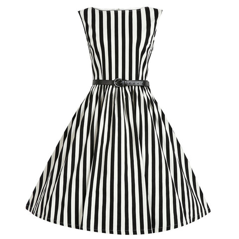 Belted Black and White Stripe Vintage Dress
