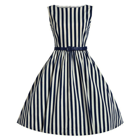 Belted Blue and White Stripe Vintage Dress