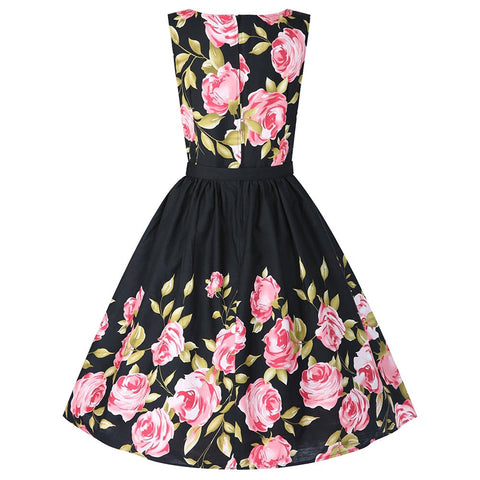 Black Belted Floral Vintage Dress