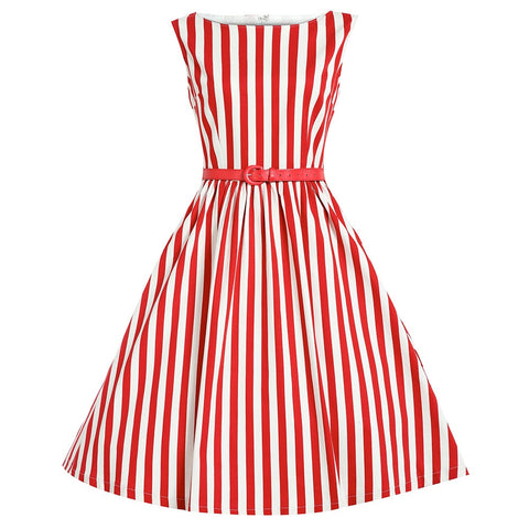 Belted Red and White Stripe Vintage Dress