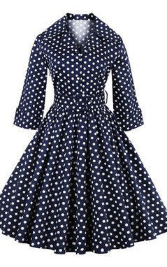 Belted Navy Blue Vintage Dress