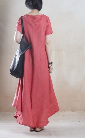 Linen Dress with Batik Print in Red