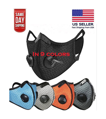 Unisex Reusable Sports Face Mask with Filter and Respirators for pollen allergy, outdoor activities and construction