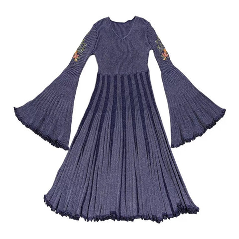 Navy blue Embroidered Knitted Boho Dress