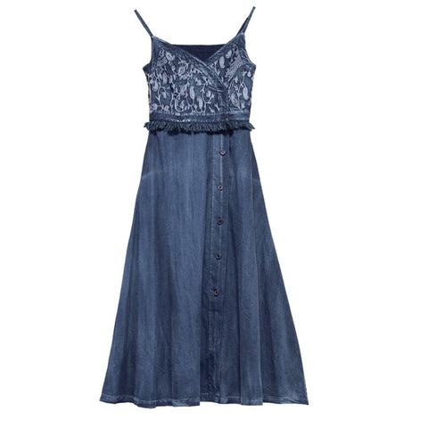 Blue embroidered denim boho halter dress