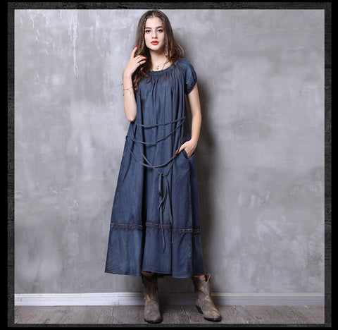 Blue denim boho dress