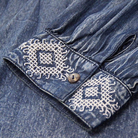 Blue embroidered denim boho dress detail