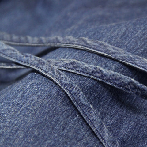 Blue denim boho dress - detail
