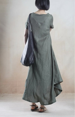 Linen Dress with Batik Print in Green