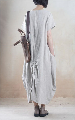 Linen Dress in Light Gray